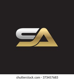 SA company linked letter logo gold silver black background