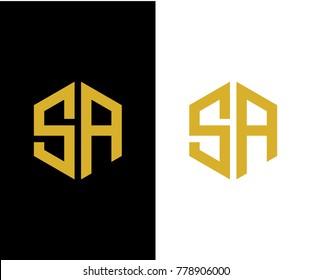 SA initial hexagon icon. letter. logo vector eps 10