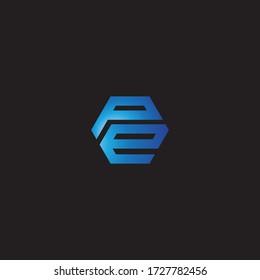 sa initial hexagon. logo line vector