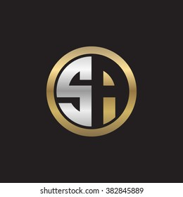 SA initial letters circle elegant logo golden silver black background