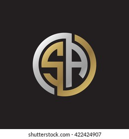 SA initial letters looping linked circle elegant logo golden silver black background