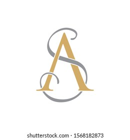 AS or SA Initial logo Capital Letters Gold and Grey colors