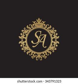 SA initial luxury ornament monogram logo