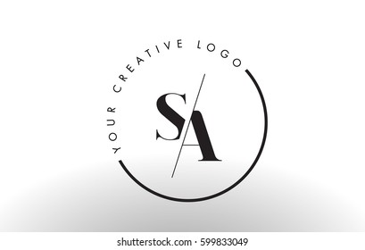 SA Letter Logo Design with Creative Intersected and Cutted Serif Font.