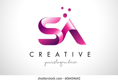 SA Letter Logo Design Template with Purple Colors and Dots