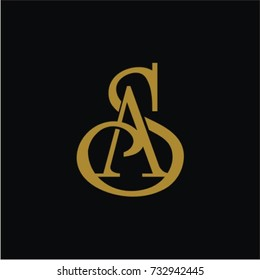SA or AS logo initial letter design
