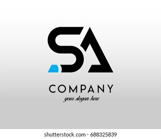 SA Logo. Letter Design Vector with Blue and Black Colors.