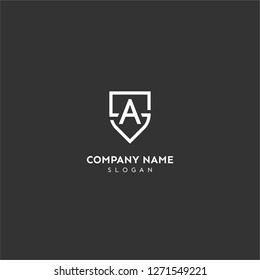 sa logo letter in shield shape design concept in white color and black background