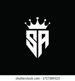 SA logo monogram emblem style with crown shape design template