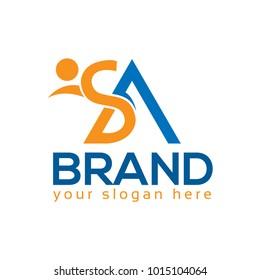 SA logo with person. SA letter. Flat logo design