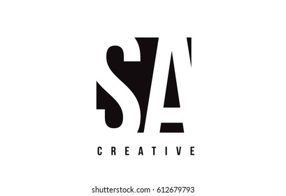 SA S A White Letter Logo Design with Black Square Vector Illustration Template.