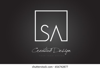 SA Square Framed Letter Logo Design Vector with Black and White Colors.