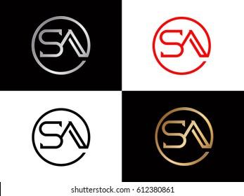 Sa text red gold black silver modern creative alphabet  letter logo design vector icon