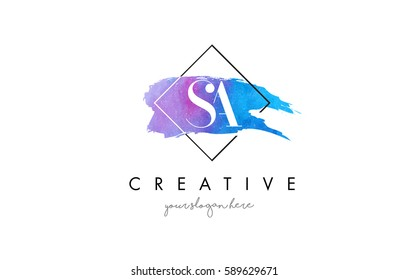 SA Watercolor Letter Brush Logo. Artistic Purple Stroke with Square Design.BC Watercolor Letter Brush Logo. Artistic Purple Stroke with Square Design.