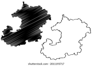 Saale-Holzland district (Federal Republic of Germany, rural district, Free State of Thuringia) map vector illustration, scribble sketch Saale Holzland Kreis map