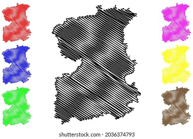 Saale-Orla district (Federal Republic of Germany, rural district, Free State of Thuringia) map vector illustration, scribble sketch Saale Orla Kreis map