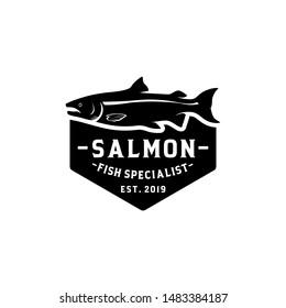 Saalmon fish logo vector. Fish as a food for logo concept