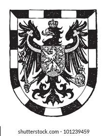Saarbrucken coat of arms (city in Germany) / vintage illustration from Meyers Konversations-Lexikon 1897