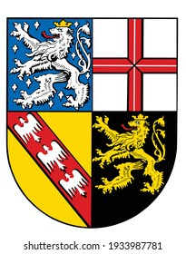 Saarland coat of arms vector  illustration. Germany province symbol. State in German federation.