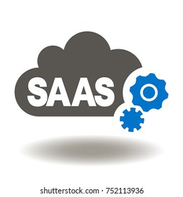SAAS Cloud Computing Gears Icon Vector. Software as a Service Internet Storage Illustration. Digital Web Server and Data Center Services Logo.
