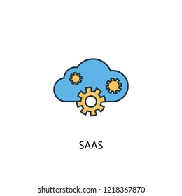 SaaS concept 2 colored line icon. Simple yellow and blue element illustration. SaaS concept outline symbol design