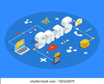 Saas isometric vector illustration. Software as service or on-demand concept background. Cloud computing segment metaphor.
