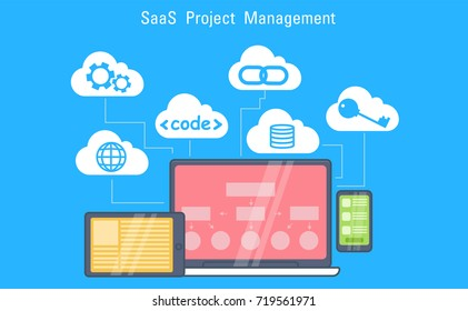 SaaS Project Management Banner. Laptop, tablet and phone, cloud storage with icons. Vector Flat Illustration
