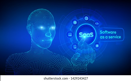 SaaS. Software as a service. Internet and technology concept on virtual screen. SAAS Computing IOT Industry. Wireframed cyborg hand touching digital interface. AI. Vector illustration.