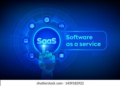 SaaS. Software as a service. Internet and technology concept on virtual screen. Development Concept. SAAS Computing IOT Industry. Robotic hand touching digital interface. Vector illustration.