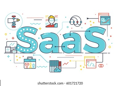 SaaS : Software as a service, word illustration for business concept. Design in modern style with related icons ornament concept for ui, ux, web, app banner design