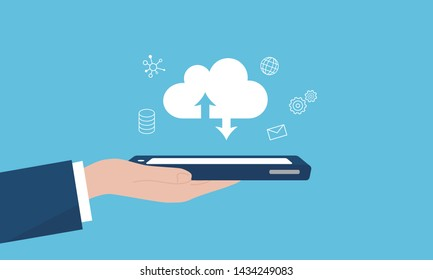 SaaS,Software as a service image,hand holding smartphone,vector illustration