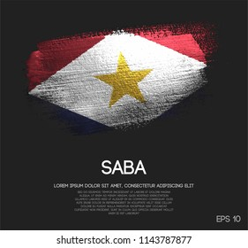 Saba Flag Made of Glitter Sparkle Brush Paint Vector