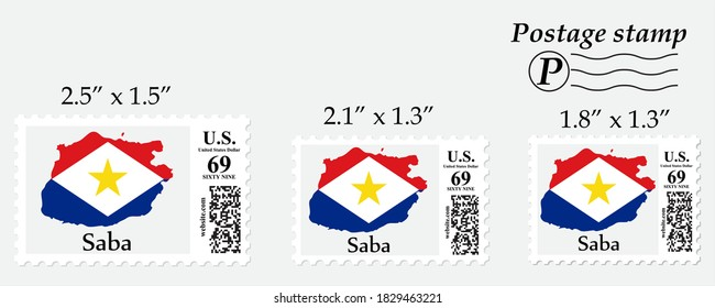 Saba flag map on postage stamp different size.