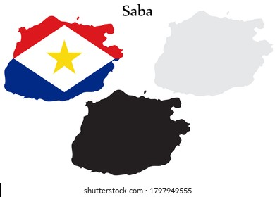 Saba flag and map shape black and gray color. EPS.file.