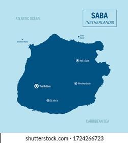 Saba island political map, caribbean Netherlands. Detailed vector illustration.