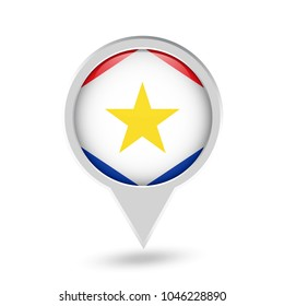 Saba (Kingdom of the Netherlands) Flag Round Pin Icon. Vector icon.