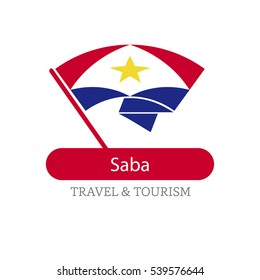 Saba The Travel Destination logo - Vector travel company logo design - Country Flag Travel and Tourism concept t shirt graphics - vector illustration