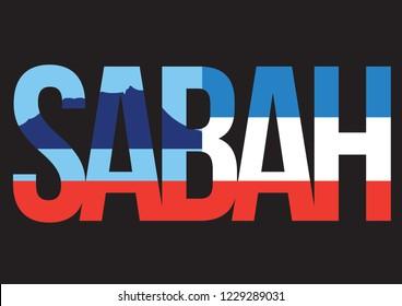 Sabah State of Malaysia with Flag