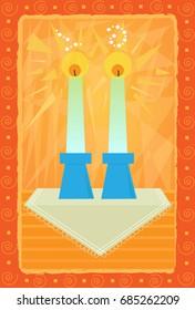 Sabbath Candles - Decorative Sabbath candles greeting card design. Eps10