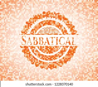 Sabbatical abstract orange mosaic emblem with background