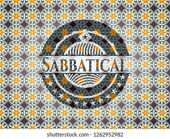 Sabbatical arabic badge. Arabesque decoration.