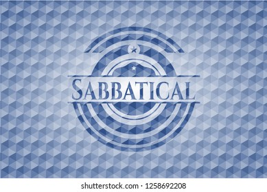 Sabbatical blue emblem or badge with abstract geometric polygonal pattern background.