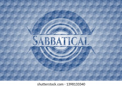 Sabbatical blue emblem or badge with abstract geometric pattern background. Vector Illustration. Detailed.