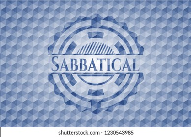 Sabbatical blue emblem or badge with geometric pattern background.