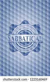 Sabbatical blue hexagon badge.