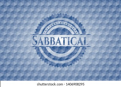 Sabbatical blue polygonal badge. Vector Illustration. Detailed.