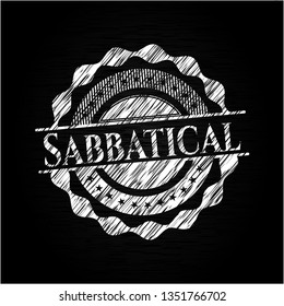 Sabbatical chalkboard emblem on black board