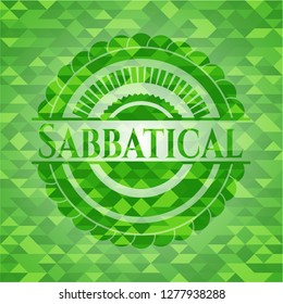 Sabbatical green emblem with mosaic background