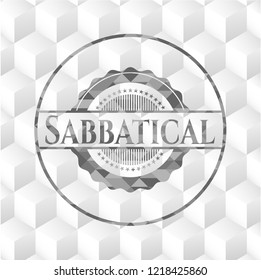 Sabbatical grey badge with geometric cube white background