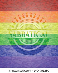 Sabbatical lgbt colors emblem. Vector Illustration. Mosaic.